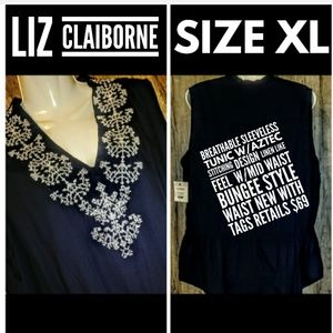 Liz Claiborne Sleeveless Tunic Top Size XL NWT